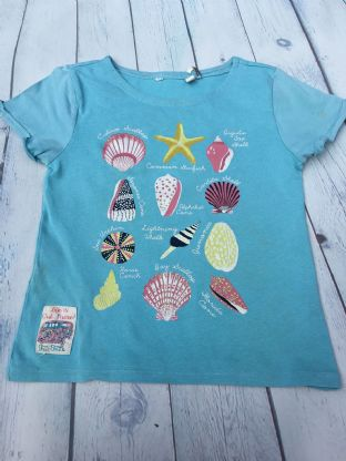 FatFace blue seashell top age 6-7